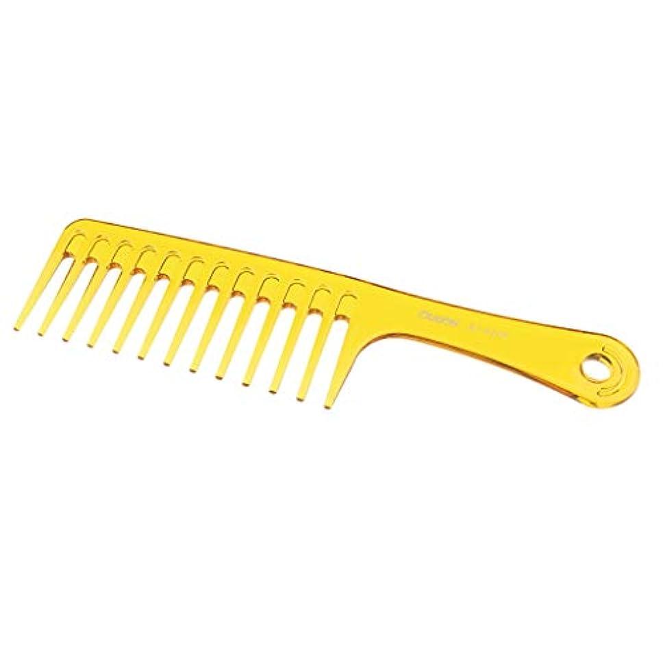 かなりの感じ批評SM SunniMix 帯電防止櫛 ヘアブラシ 広い歯 櫛 サロン スタイリング ヘアブラシ 2色選べ - 黄
