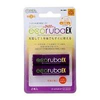 (まとめ) オーム電機 ecorubaEX ニッケル水素充電池 大容量タイプ 単3形2本パック BT-JUTG3H2P 【×5セット】