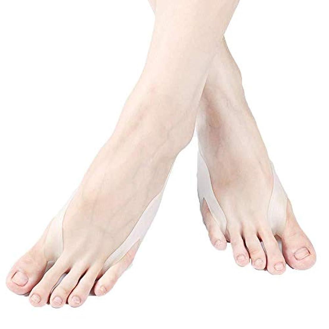 中央気づくなる良心的つま先セパレーター、男性用および女性用ソックスの爪先強度のための夜間および昼間の外反母パッド用のつま先矯正