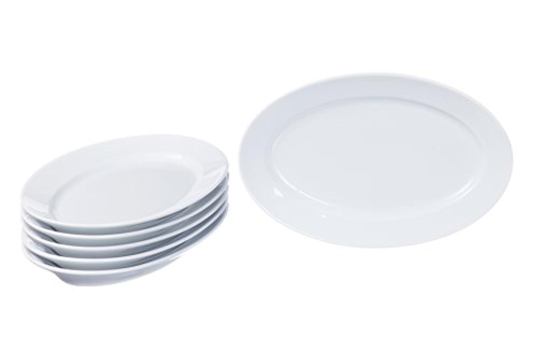 Oval Serving /パーティのディナー用大皿 – ディナープレート – セット3サイズ、耐久性ホワイト磁器、レストラン&ホテル品質 14.1'' x 9.8'' ホワイト
