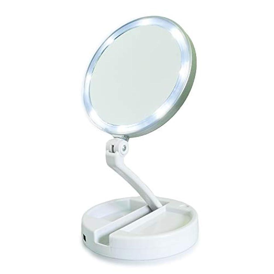 相続人ファンネルウェブスパイダー合体YEEZEN ライト付き拡大鏡 卓上 拡大鏡 化粧鏡 等倍と10倍拡大 無段階調光 ライトつきミラー 折りたたみ式 360°回転 収納しやすい 鏡 led 拡大ミラー