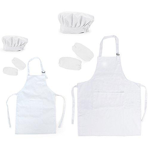 Opromo 多色 子供用 コットンキャンバス エプロン+帽子+オーバースリーブ ポケット付き(1セットの価格) - ホワイト 親子ペア - L