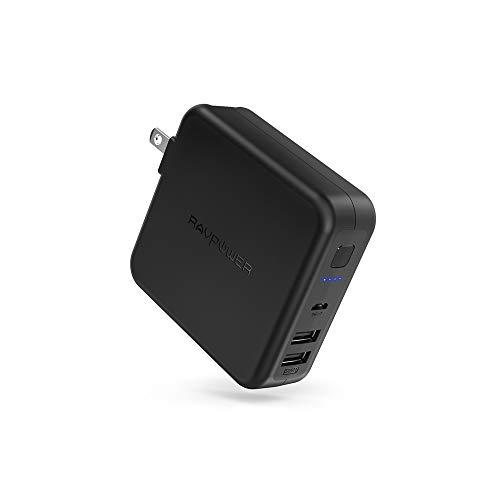 RAVPower モバイルバッテリー 充電器 6700mAh 急速充電 USB 2ポート 最大5V/3A 軽量 折畳式プラグ 菱丸PSE認証済 iPhone iPad Android等対応 RP-PB125 (ブラック)