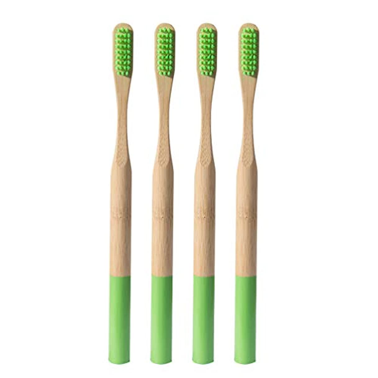 上弱点文房具Heallily 竹歯ブラシ4ピースソフトブリスル歯ブラシ生分解性、環境に優しいソフト歯ブラシ、大人用の細い毛を備えた抗菌歯ブラシ(グラスグリーン)