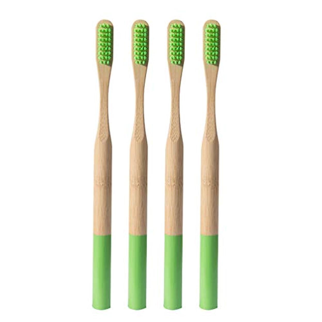 軽蔑するヒット思慮のないHeallily 竹歯ブラシ4ピースソフトブリスル歯ブラシ生分解性、環境に優しいソフト歯ブラシ、大人用の細い毛を備えた抗菌歯ブラシ(グラスグリーン)