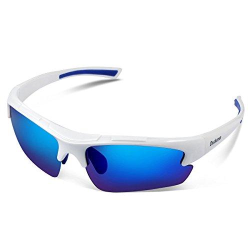 Duduma 偏光レンズ メンズスポーツサングラス 超軽量 UV400 紫外線をカット スポーツサングラス/ 自転車/釣り/野球/テニス/ゴルフ/スキー/ランニング/ドライブ TR62 (ホワイト/ブルー)