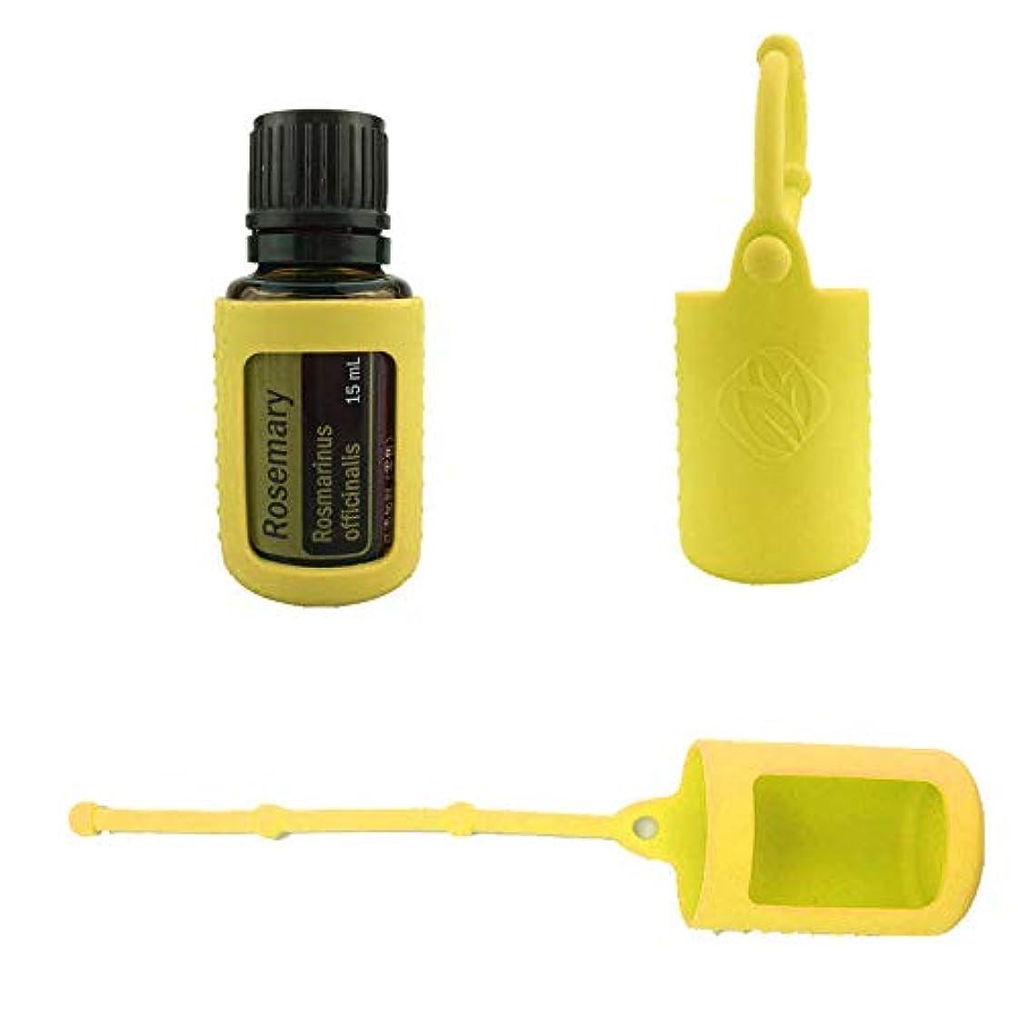 準備する通信する有用6パック熱望オイルボトルシリコンローラーボトルホルダースリーブエッセンシャルオイルボトル保護カバーケースハングロープ - イエロー - 6-pcs 10ml