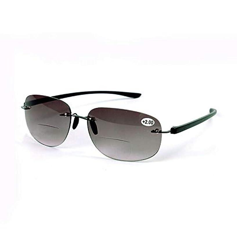 単語信号グレートバリアリーフFidgetGear ファッションリムレスBifocals黒老眼鏡サングラスリーダー+ 1.0?+ 3.5男性 ブラック