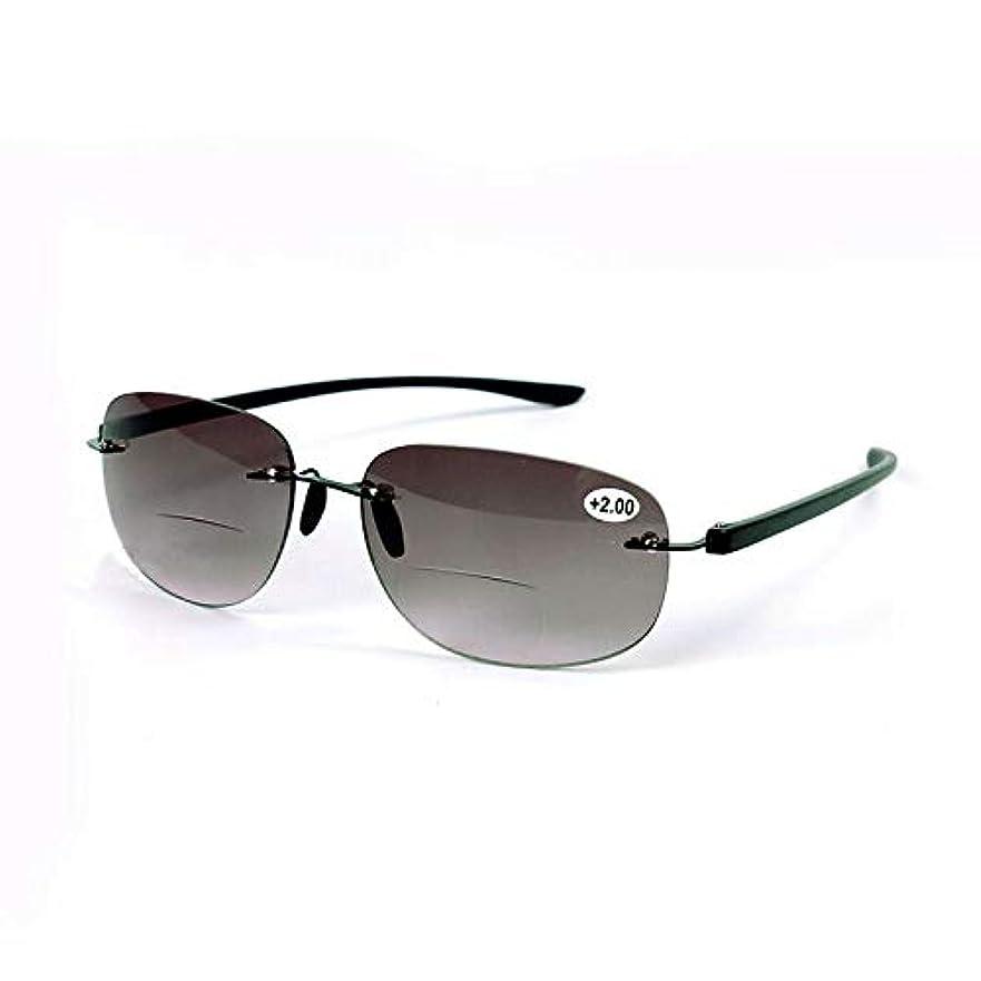 FidgetGear ファッションリムレスBifocals黒老眼鏡サングラスリーダー+ 1.0?+ 3.5男性 ブラック