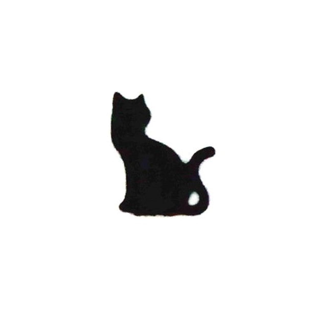 会計士健康免疫するリトルプリティー ネイルアートパーツ 猫3 ブラック 10個