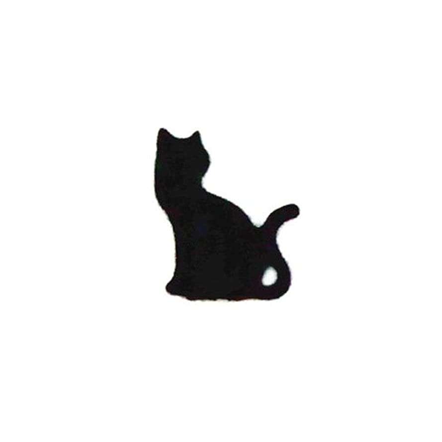 不良品どこにでも柔和リトルプリティー ネイルアートパーツ 猫3 ブラック 10個