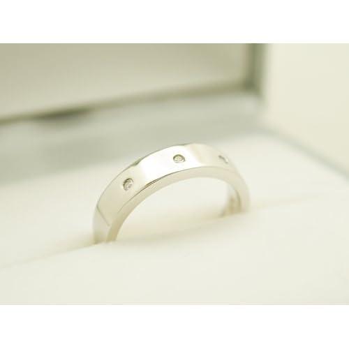 ダイヤモンド リング 指輪 ring スリーストーン トリロジー ケース付き 4月 誕生石 【プラチナタイプ・8号】