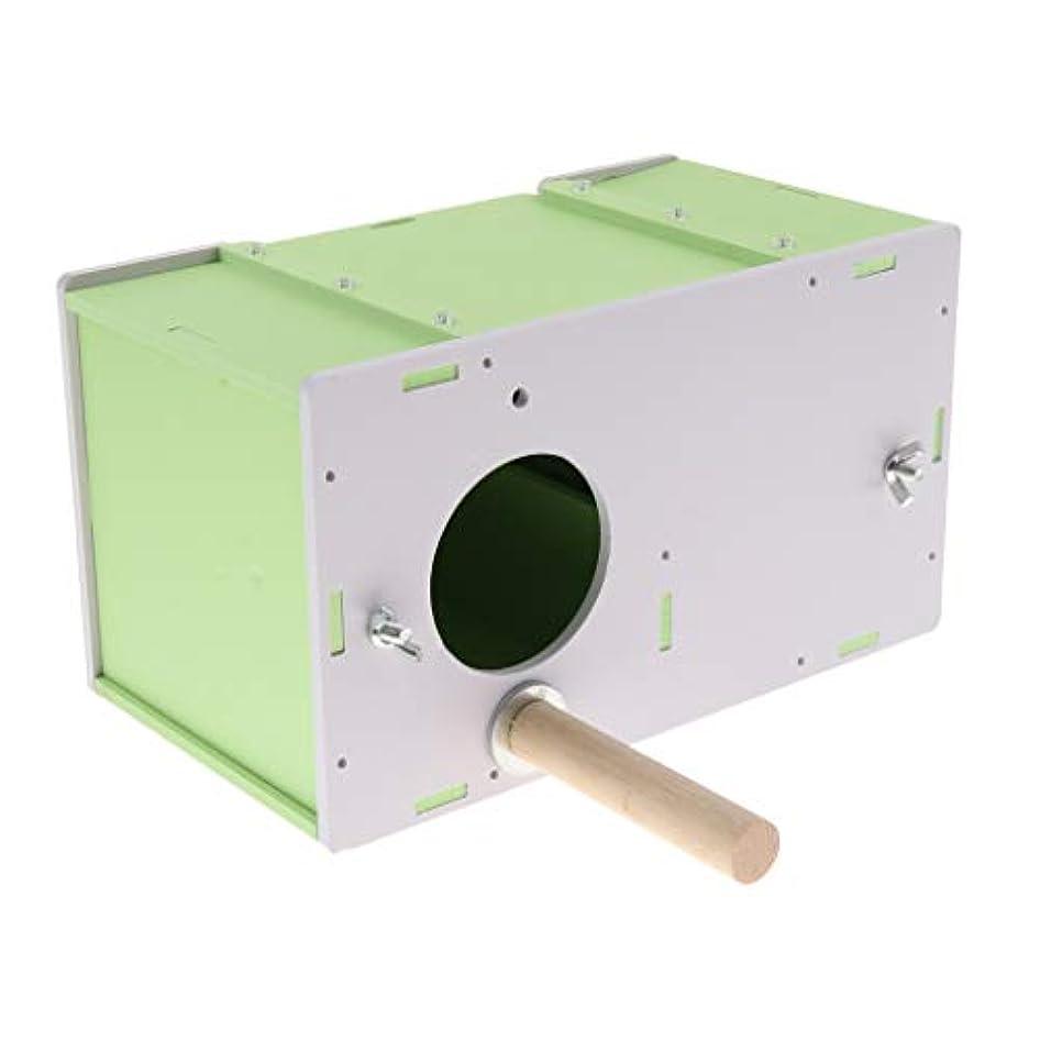 未知の数未知のCUTICATE 木製の小さなペットの鳥のオウムの繁殖箱の巣の家の単一のドアS M L - 緑
