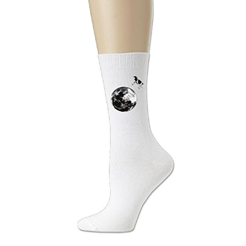 ソフト 靴下 アンクルソックス 穏やか 牛 プリント フットサポート付き クルーソックス スポーツ かわいい Ash
