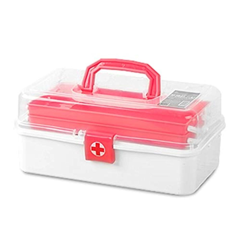 音節レールフリース緊急用バッグ 多層大容量救急箱ポータブル薬収納ボックス/グリーン、ピンク/ 33 x 17 x 14.8 cm HMMSP (Color : Pink)