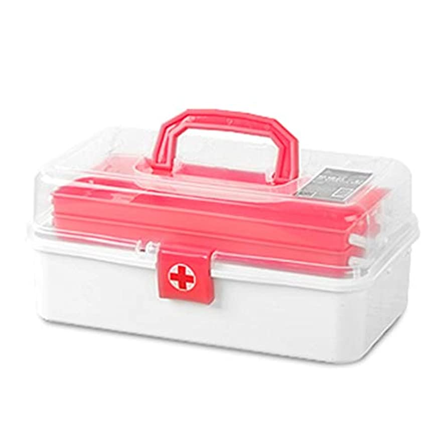 雨気を散らすありふれたFirst aid kit 多層大容量救急箱ポータブル薬収納ボックス/グリーン、ピンク/ 33 x 17 x 14.8 cm XBCDP (Color : Pink)