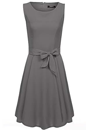 (ジアグー) Zeagoo レディース ワンピース ドレス Aライン ノースリーブ リボンベルト付 シフォン 結婚式 二次会 お呼ばれ パーティードレス 大きいサイズ (S, Gray)