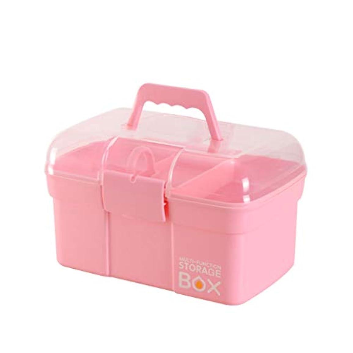 カストディアンピニオンシェーバー小さな薬箱ホームクリニック応急処置ボックスプラスチック透明カバー医療薬収納ボックス HUXIUPING (Color : Pink, Size : S)