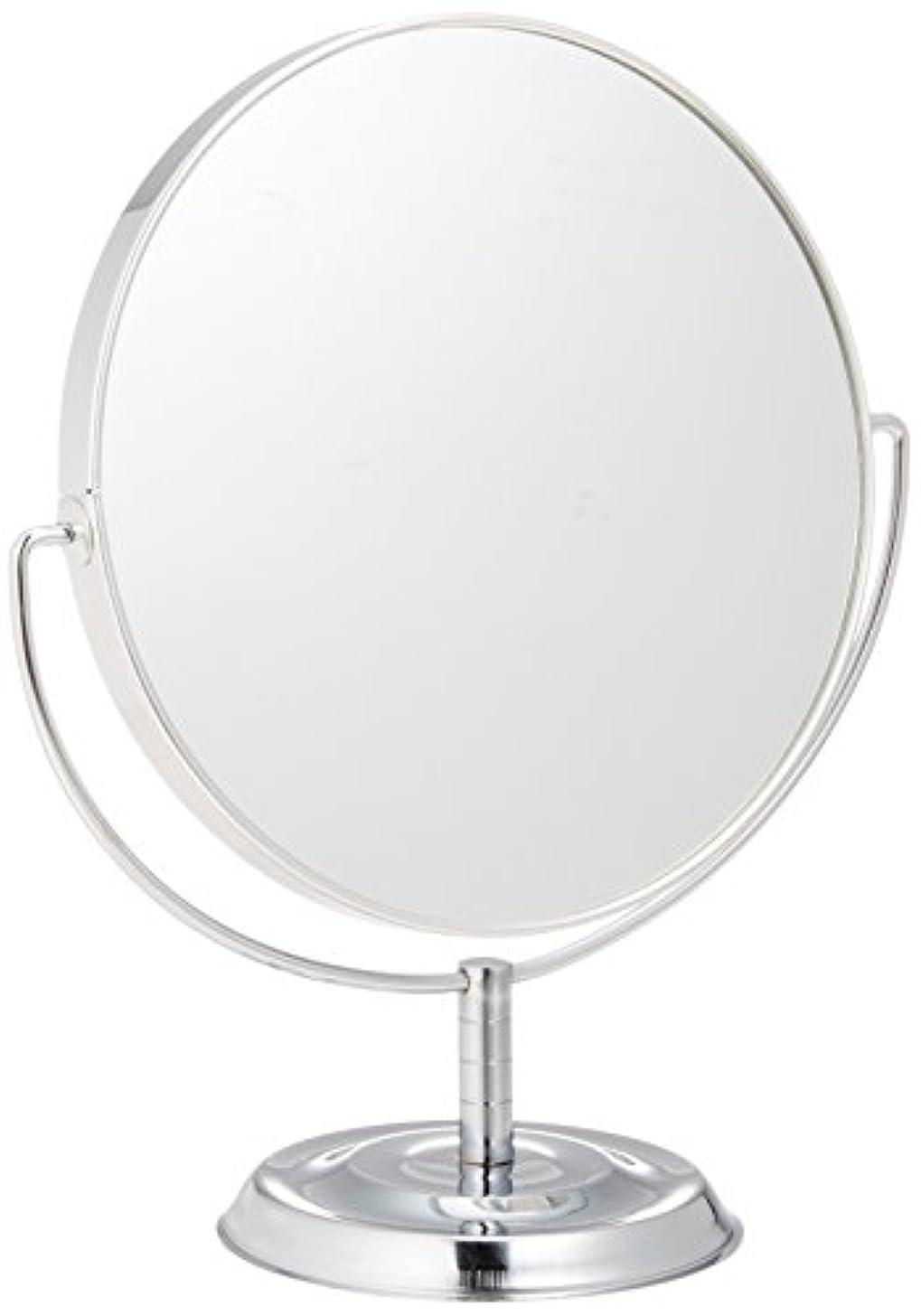 金属リベラル器用メリー 片面約5倍拡大鏡付両面鏡卓上ミラー シルバー No.5880