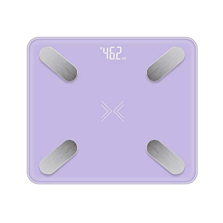 XF 体重計?体脂肪計 ブルートゥース体脂肪スケール - 高精度デジタルバスルームボディコンポジションアナライザー、正確な健康指標、BMI、BMR、筋肉、水、骨など、BMIスケール 測定器 (色 : Purple)