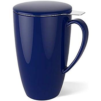 Sweese 2104 ワンカップティーメーカー お茶フィルター 茶漉し付き 蓋付き セラミックス - 450ML ネービー