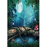 aofoto 5x 7ft女の子写真スタジオの背景幕幼児用写真撮影背景Dreamy Forest Moon NightツリートランクMushrooms Grass子供Kid Artistic PortraitファンタジーシーンビデオPropsデジタル