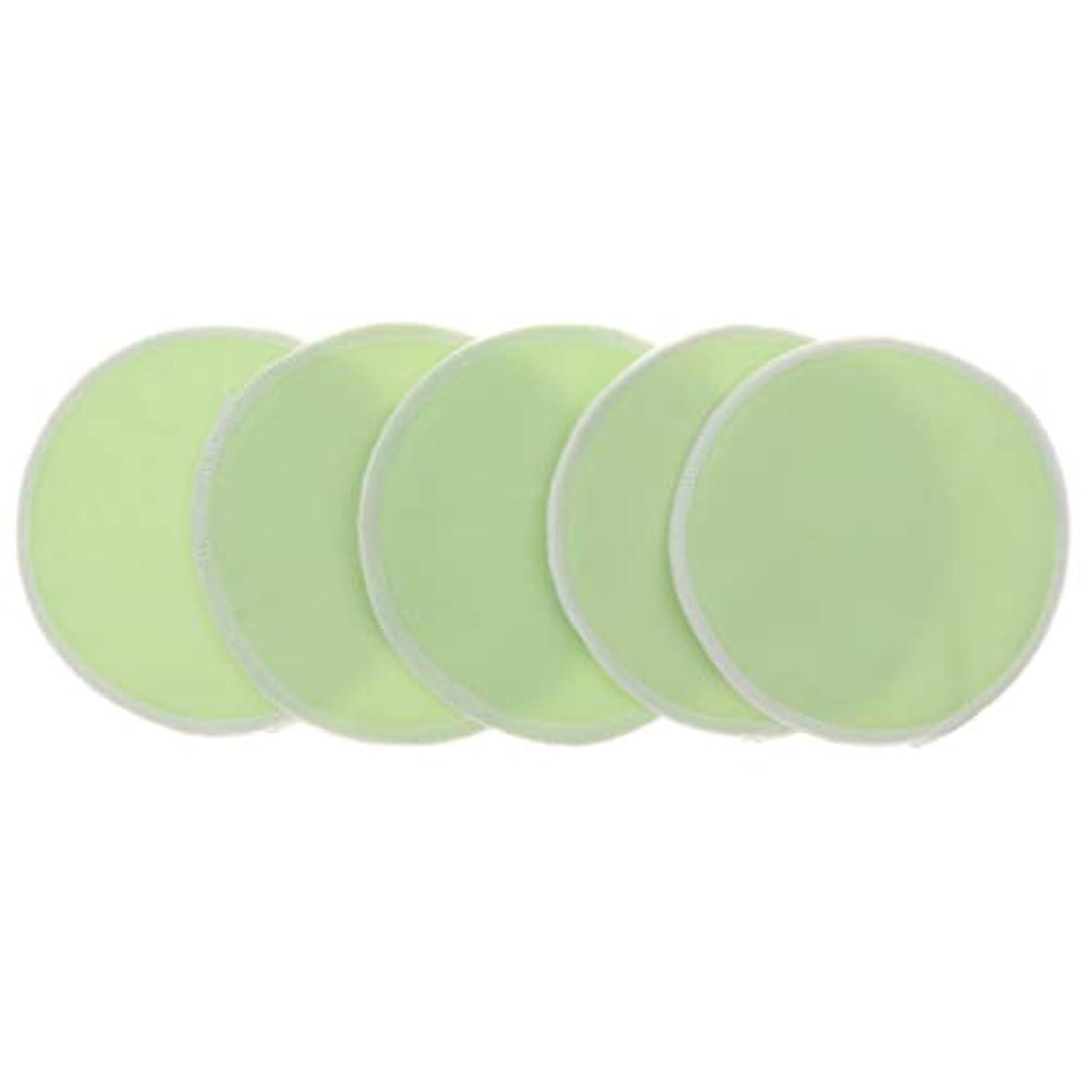 人種カセット靴胸パッド クレンジングシート メイクアップ 竹繊維 円形 12cm 洗濯可能 再使用可 5個 全5色 - 緑