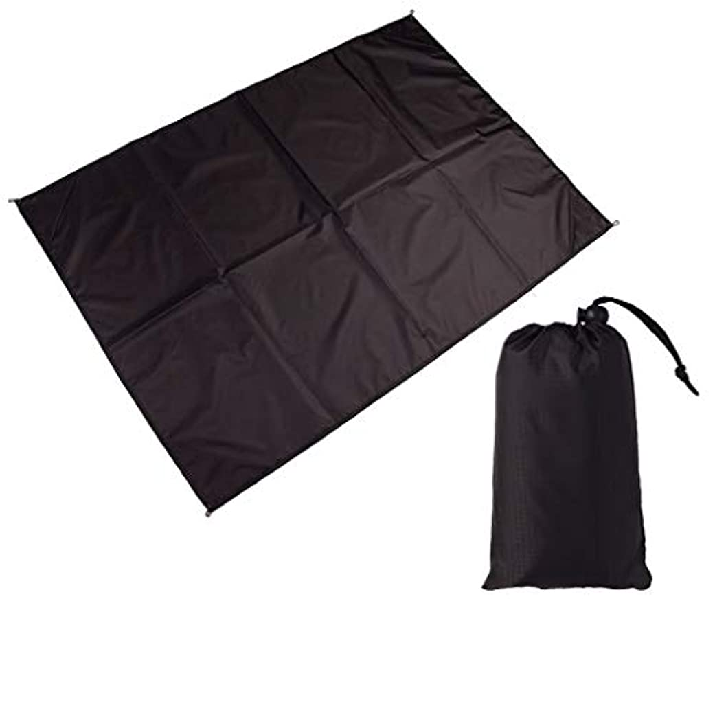 扇動する出発高度便利なビーチマット 屋外の軽量の携帯用ピクニックマットの防水マットのキャンプのマット 折りたたみ式とポータブル (Color : Black, サイズ : 100*140cm)