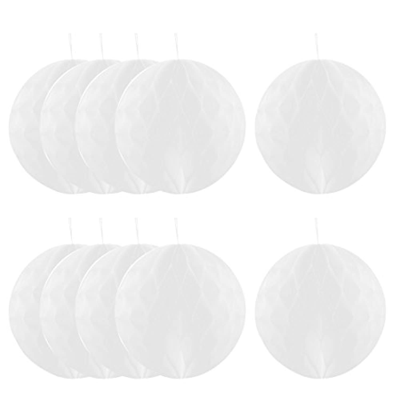 uxcell 吊り飾り ハニカムボール パーティー 紙 壁 窓 ドア DIY ホワイト 25cmの直径 10個セット