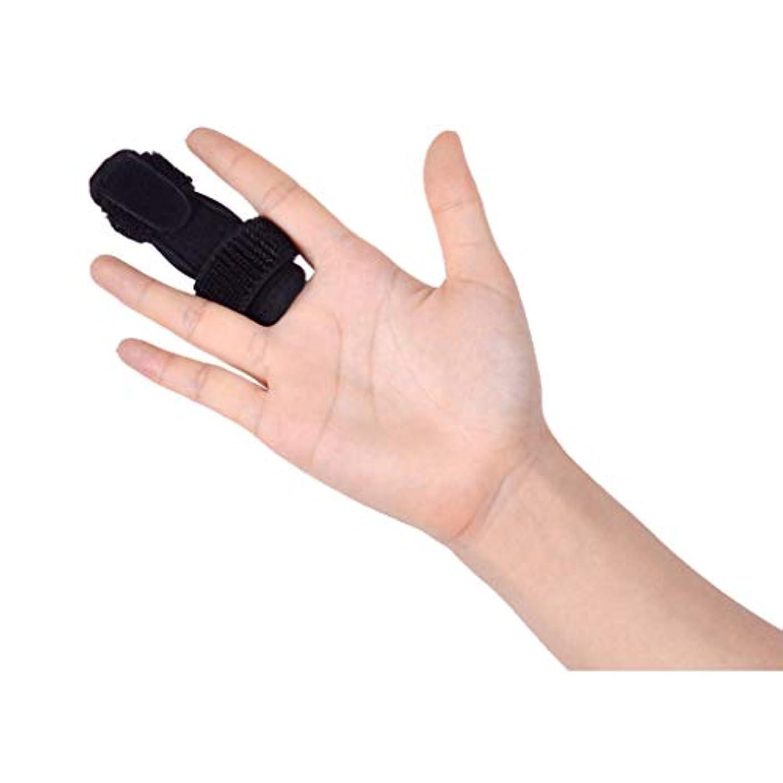 フィンガープロテクター、軽量、指ガード、通気性、捻挫骨折固定医療用プロテクター腱骨折,Black