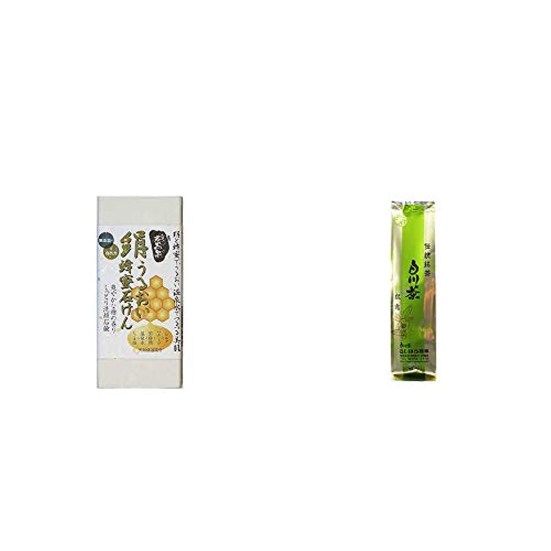時代ピアノフラスコ[2点セット] ひのき炭黒泉 絹うるおい蜂蜜石けん(75g×2)?白川茶 伝統銘茶【松露】(180g)