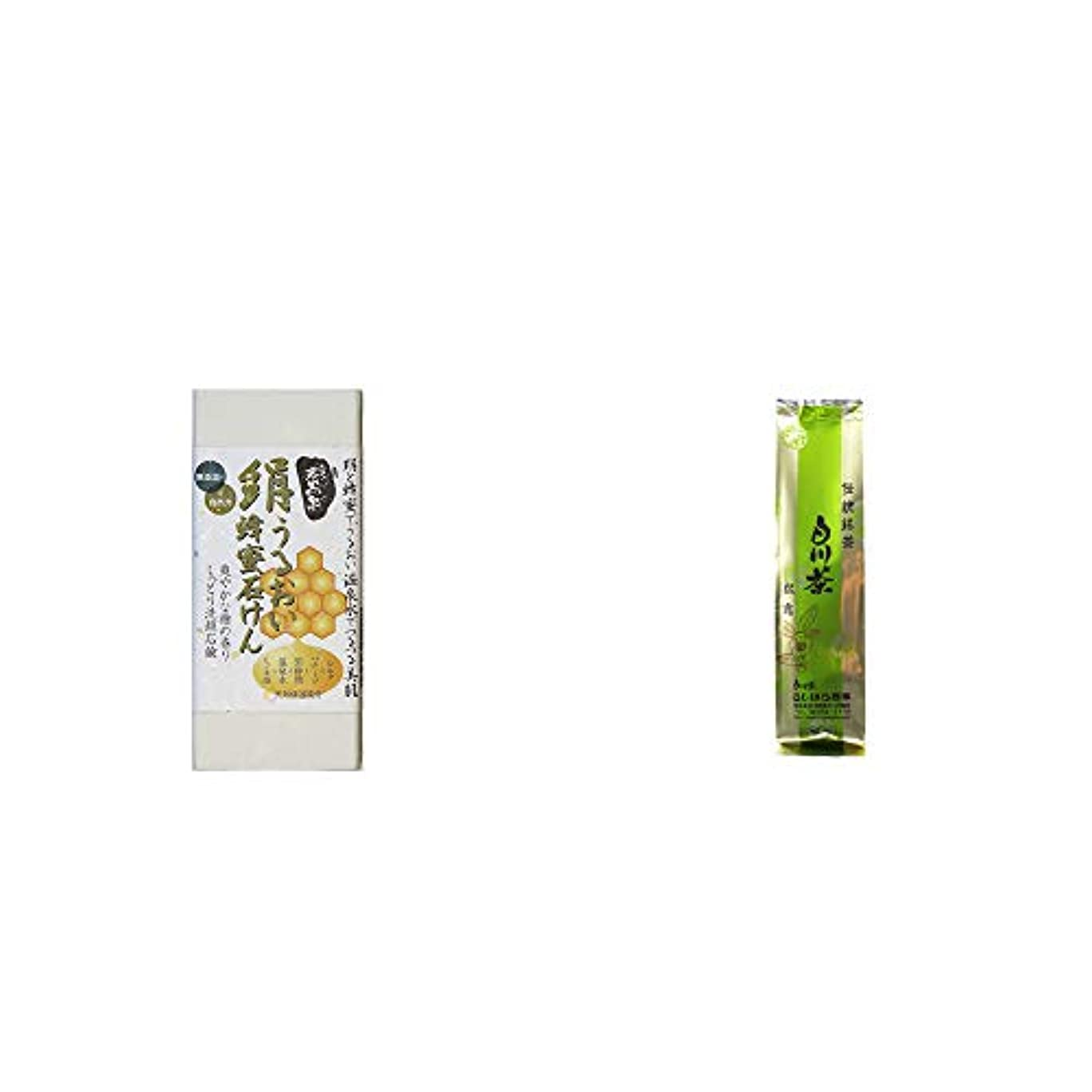 入札分子滴下[2点セット] ひのき炭黒泉 絹うるおい蜂蜜石けん(75g×2)?白川茶 伝統銘茶【松露】(180g)