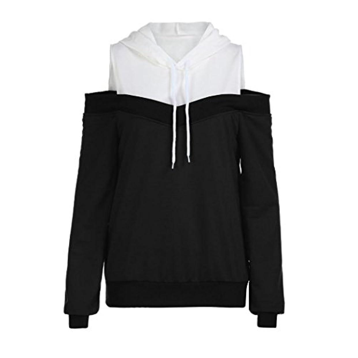 入力お互い折SakuraBest レディースファッションオフショルダーロングスリーブパーカースウェットシャツ