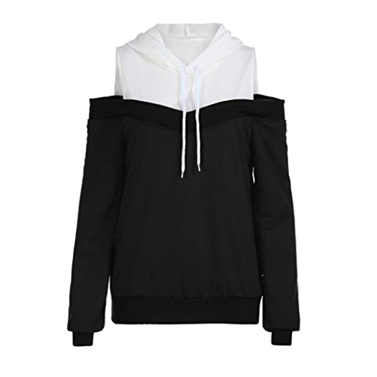 SakuraBest レディースファッションオフショルダーロングスリーブパーカースウェットシャツ