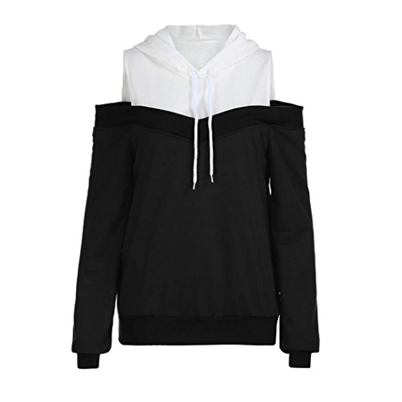 送った代替案情緒的SakuraBest レディースファッションオフショルダーロングスリーブパーカースウェットシャツ