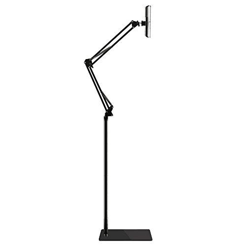 (Bidear)タブレットスタンド スマホ ホルダー 360度回転可能 38cm-175cm高さ調節可能 主体調節でき 折り畳み式 フレキシブルアーム 寝ながら 根元強化 下垂防止 3.5~10.6インチ 便利スタンド (ブラック)