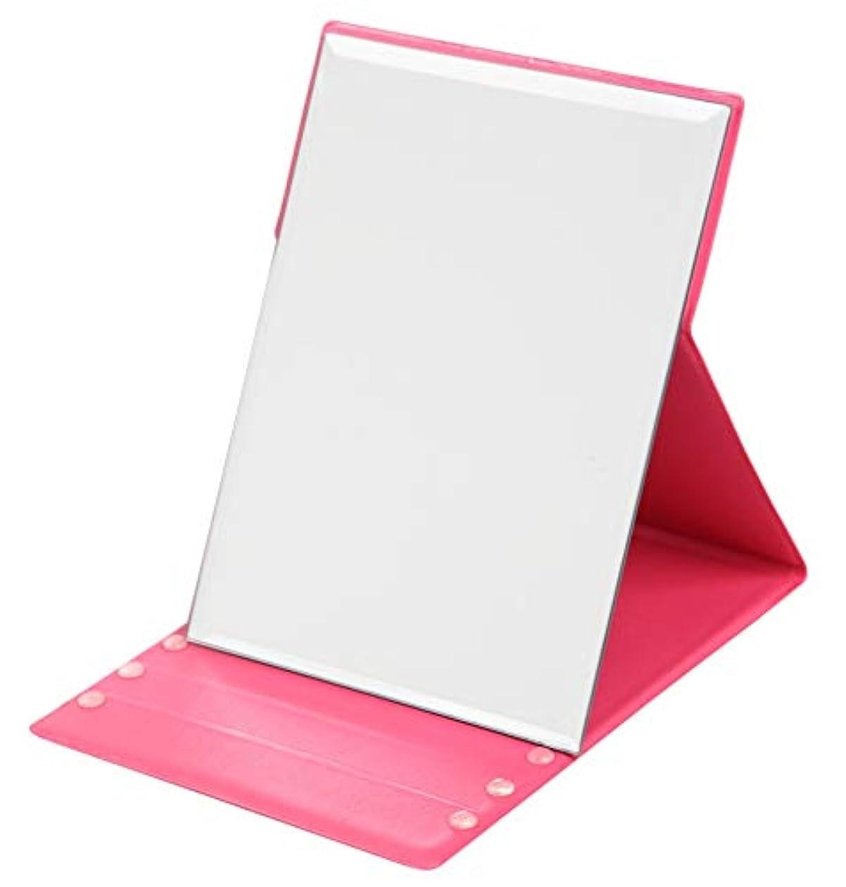 学士島真珠のような化粧鏡 折り畳み (折り畳み式大形鏡, ピンク)