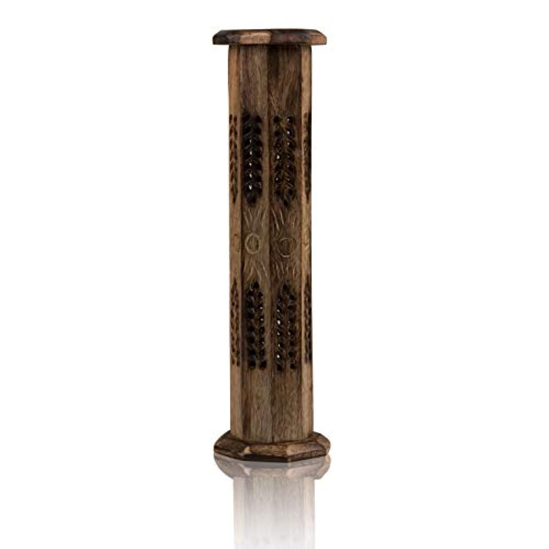 実装するカプラー実現可能木製お香スティック&コーンバーナーホルダー タワー ラージ オーガニック エコフレンドリー アッシュキャッチャー アガーバティホルダー 素朴なスタイル 手彫り 瞑想 ヨガ アロマセラピー ホームフレグランス製品