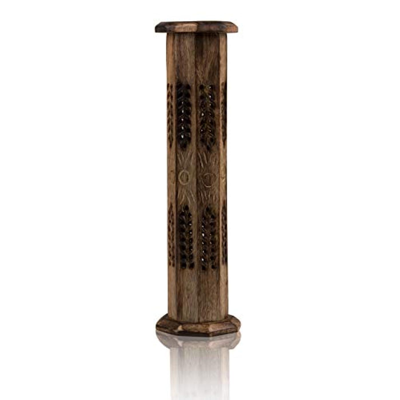 旅行実施するはっきりと木製お香スティック&コーンバーナーホルダー タワー ラージ オーガニック エコフレンドリー アッシュキャッチャー アガーバティホルダー 素朴なスタイル 手彫り 瞑想 ヨガ アロマセラピー ホームフレグランス製品
