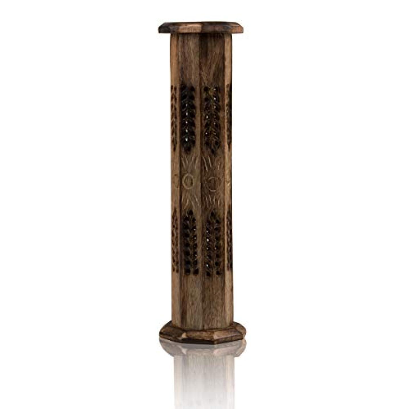 を除くトロリーリットル木製お香スティック&コーンバーナーホルダー タワー ラージ オーガニック エコフレンドリー アッシュキャッチャー アガーバティホルダー 素朴なスタイル 手彫り 瞑想 ヨガ アロマセラピー ホームフレグランス製品