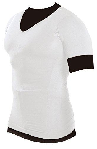 マッスルプロジェクト 加圧インナーシャツ Vネック (カラー:白・サイズ:M) 《新日本プロレス 棚橋選手 オススメ》 引き締め 姿勢補正 運動効果