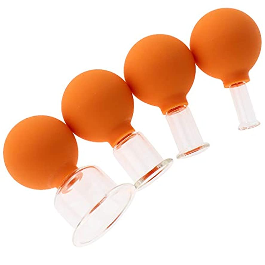 ブラケットレイ王室KESOTO 4個 マッサージ吸い玉 カッピングカップ ガラスカッピング 真空 男女兼用 実用的 全3色 - オレンジ