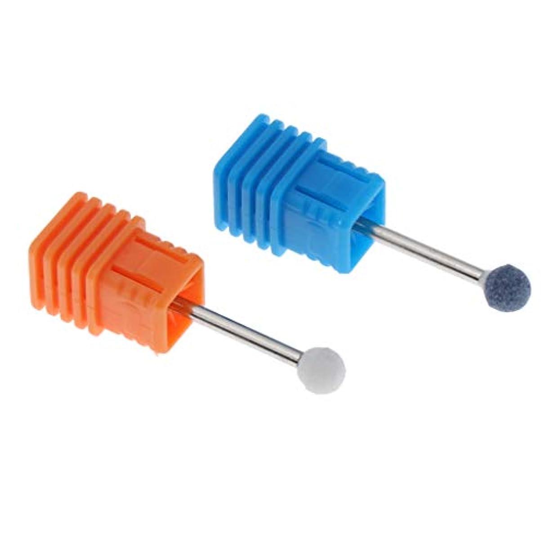 さらに立方体クロールTachiuwa ネイルアート 研磨ヘッド 爪磨き ヘッド 電動研磨ヘッド 取り除き ネイルドリルビット 2個 全6カラー - ホワイト+ブルー