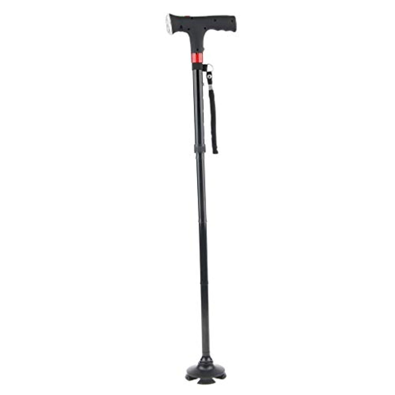 空白効率率直なウォーキングスティック 歩行補助 四足 滑り止め 合金製 軽量 折り畳み式 高齢者 LEDライト
