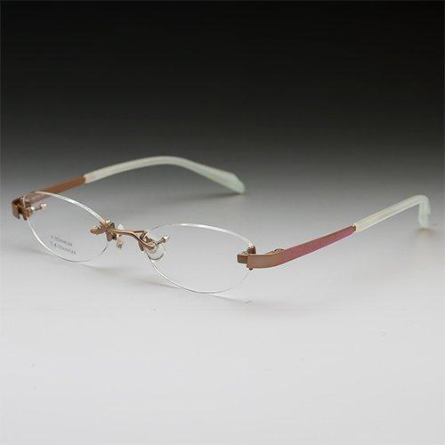 サバエワークス パソコン用メガネ (度数+0.00) PCメガネ ふちなし ツーポイント 日本製 チタン フォックス (NT539 ブラウン) 49□18-140 男性 女性 HOYA(ブルーカット) 薄型非球面レンズ ケース付 度なし 眼鏡セット