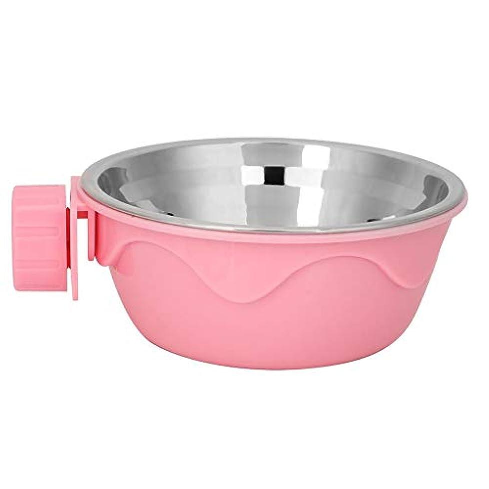ペットボール、犬猫の子犬のためのステンレス鋼の掛かる食糧ホールダー水送り装置(ピンク)