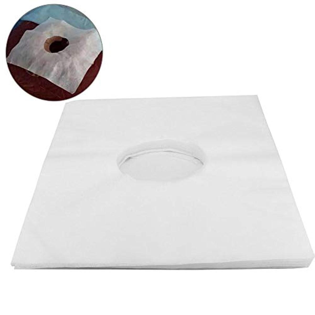 機動収まるまっすぐにする使い捨て美容院のベッドの顔の穴カバー(白)