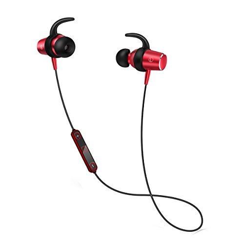 ブルートゥース イヤホン スポーツ仕様 Bluetooth イヤホン マグネット ON/OFF機能搭載 ワイヤレス ヘッドホン カナル型 高音質 APT-X対応 内蔵マイク 防水 防塵 防汗 片耳 両耳 iPhone/Android (レッド)