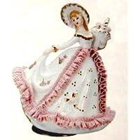 陶器レース人形回転オルゴール(ピンク)「曲目:カノン」