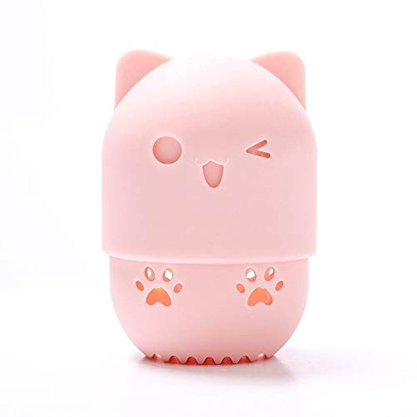 エスニック完璧タックルスポンジパフ収納ボックス ,可愛い通気性を柔らか美容スポンジ シリコン旅行 キャリングケース、あらゆる化粧スポンジ適用 (ピンク)
